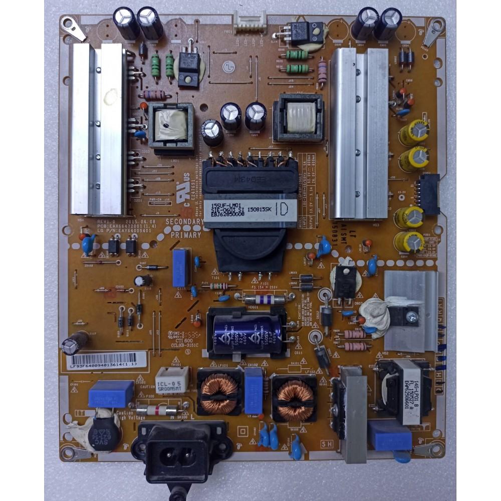 EAX66472001(1.4), EAY64009401, 3PCR01089A, PLDF-IA21A, LGP43F-15UL2, LG 43UF6407-ZA, 43UF6407, LG, POWER BOARD