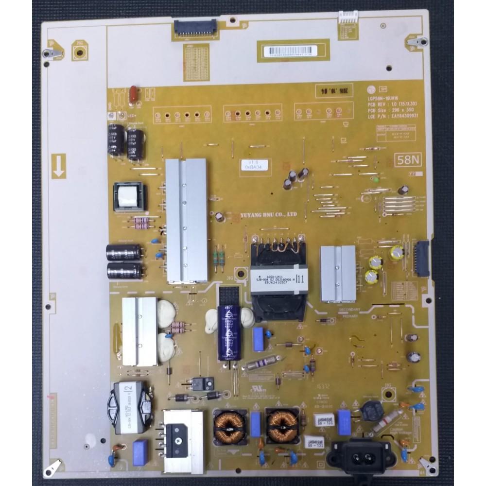 EAY64309931, LGP58N-16UH16, LG 58UH635V-ZA, V580DJ2-KSSA, POWER BOARD