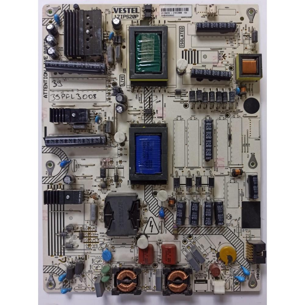 17IPS20P, 23106230, 150313R3, PHILIPS 39PFL3008K/12, Power Board, VES390UNDC-01