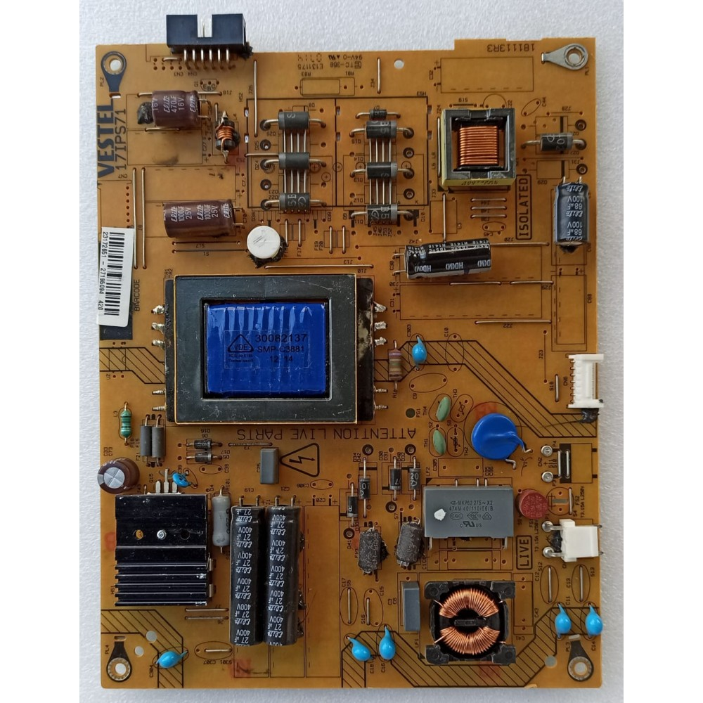 17IPS71, 23172651, VESTEL, 32PH5065, VES315WNVL-01-B, POWER BOARD, BESLEME KARTI